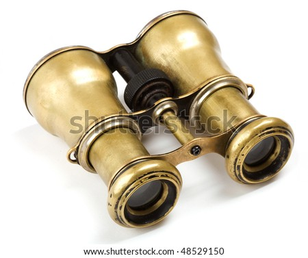 Antique binoculars isolated on white background - stock photo