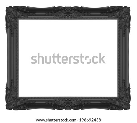 antique black frame isolated on white background - stock photo