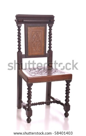 Antique Black Wood Chair With Leather Seat Isolated On White Background