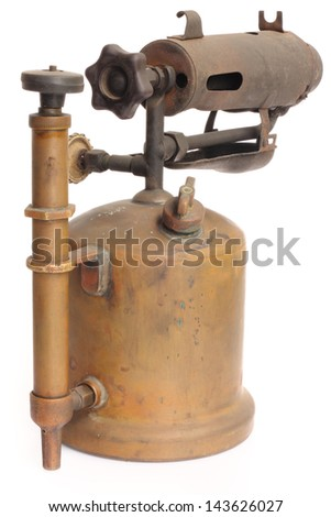 antique blowtorch isolated on white background