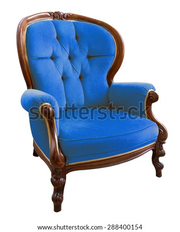 Antique blue armchair isolated on white background - stock photo