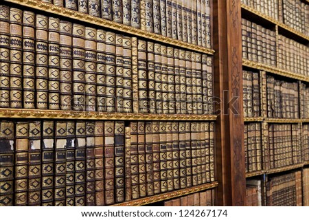 Antique books in the Library of Stift Melk, Austria. - stock photo