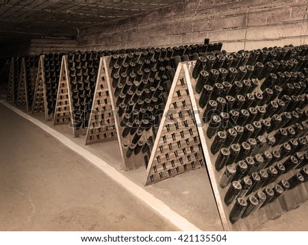 Antique bottles in the cellar