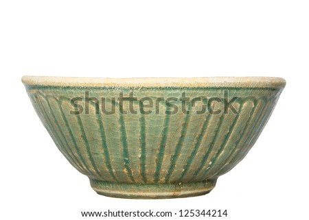 Antique bowl on a white background. - stock photo
