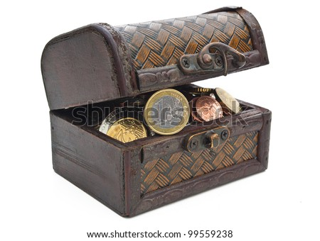Antique box with coins isolated on white
