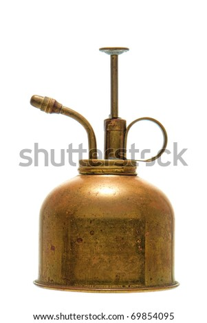 Antique brass and tin garden plant watering spray can isolated on white - stock photo