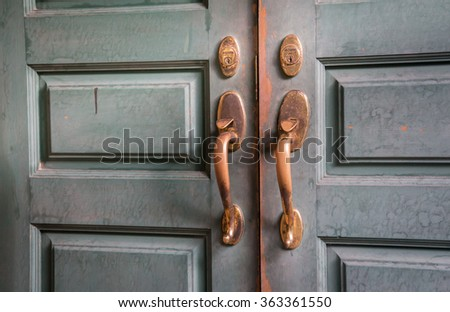 Antique brass bolts and wooden doors - stock photo