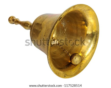 Antique brass hand bell isolated on a white background - stock photo