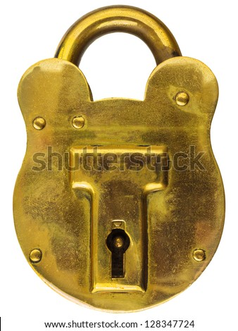 Antique brass padlock isolated on a white background - stock photo