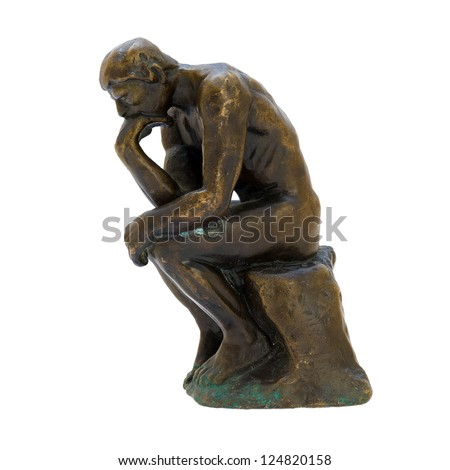Antique bronze figurine of the naked thinker man. Isolated image.