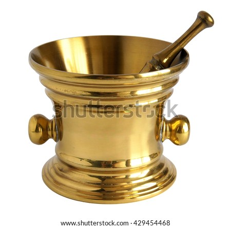 Antique bronze mortar and pestle isolated on white background - stock photo