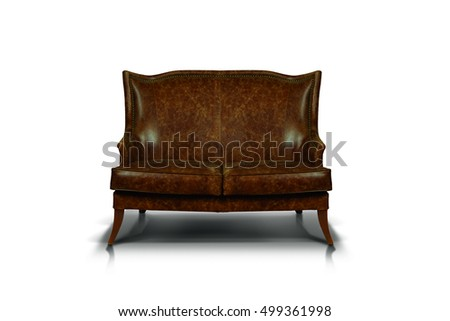 Antique brown leather Luxurious sofa
