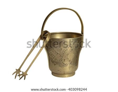 Antique bucket of ice isolated on white background - stock photo