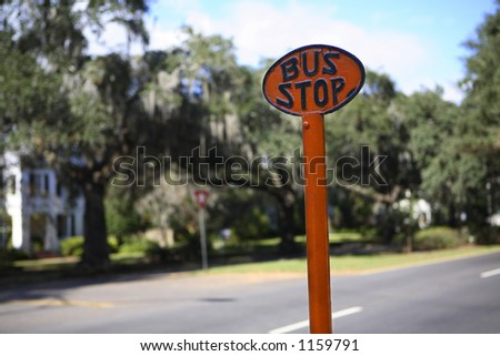 Antique bus stop sign