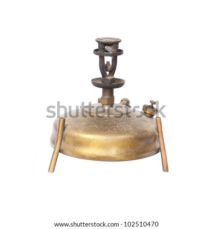 antique  camping stove on white background