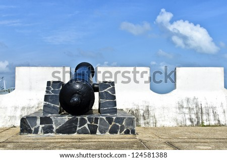 Antique cannon in the grounds of songkhla city wall, thailand - stock photo