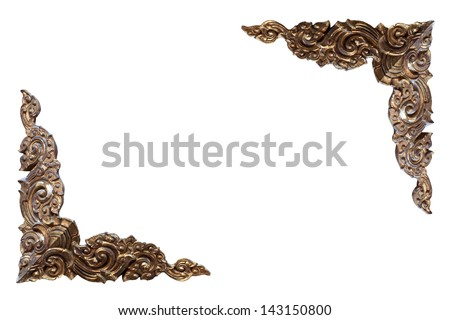 Antique carved frame on a white background - stock photo