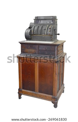 antique cash register isolated on white background
