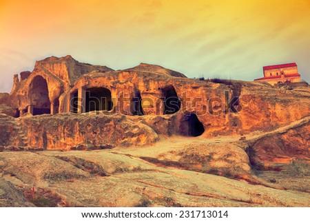 Antique cave city Uplistsikhe, Georgia, Europe. - stock photo