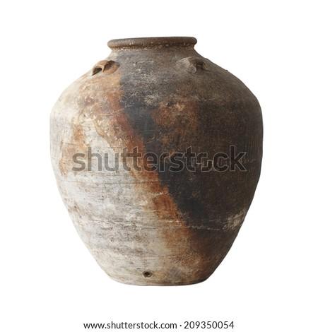 Antique ceramic jar - stock photo