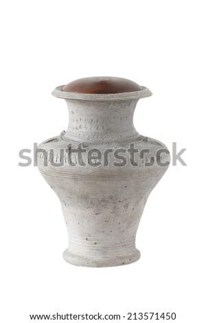 Antique ceramic jar isolated on white background - stock photo