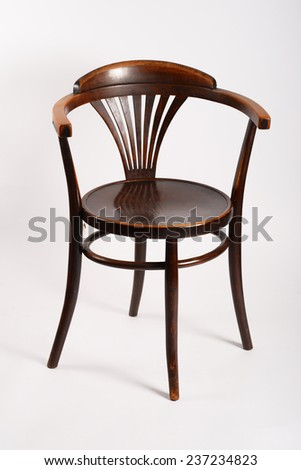 Antique chair in good condition on the white background
