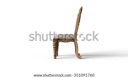 Antique Chair Side View - stock photo