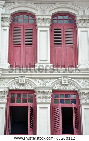 Antique Chinese doors at the old classic building in Hong Kong - stock photo