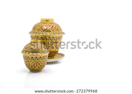 Antique Chinese tea bowl,  isolated on white background - stock photo