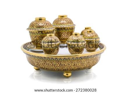 Antique Chinese tea bowl set,  isolated on white background - stock photo