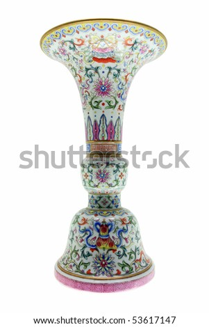 Antique Chinese Vase isolated over white with clipping path. - stock photo