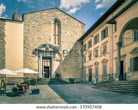 Antique church and architecture in tuscan Arezzo, Italy - stock photo