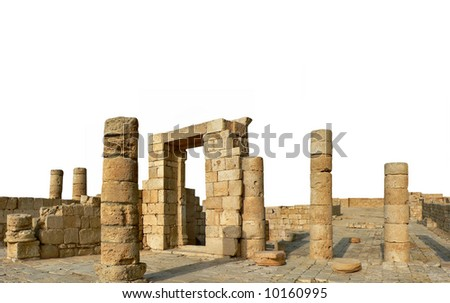 Antique city ruins isolated over white - stock photo