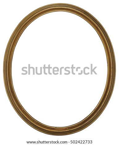 antique classic oval golden thin frame isolated on white background high resolution and high