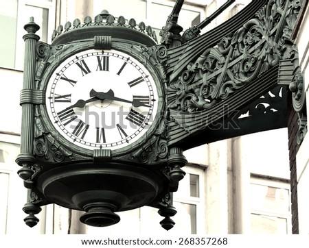 Antique clock - stock photo