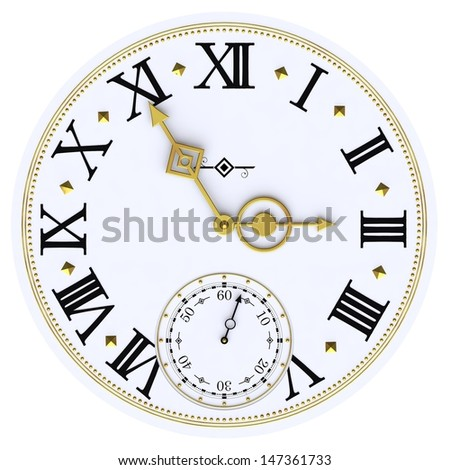antique clock face isolated on white background