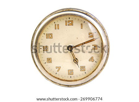 Antique clock face showing the time isolated on white background - stock photo