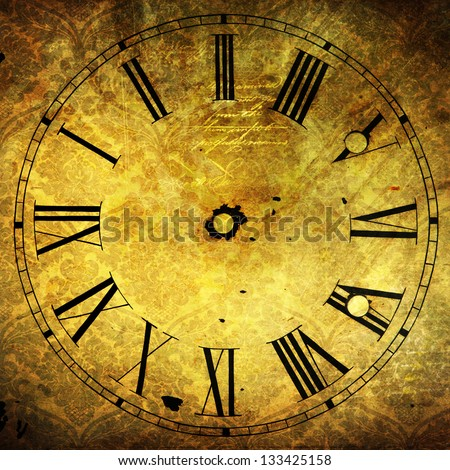antique clock face with vintage style texture - stock photo