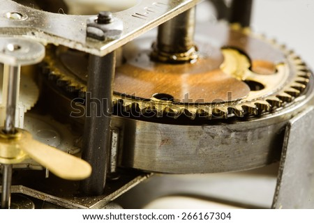 Antique clock gears - stock photo