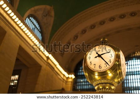 Antique clock in main concourse of Grand Central Terminal - stock photo
