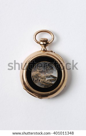 antique clock isolated - stock photo