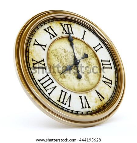 Antique clock isolated on white background. 3D illustration.