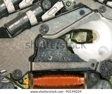 Antique clock mechanism. Fragment. - stock photo