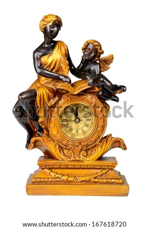 Antique clock, minutes to twelve. Isolated over white with clipping path. - stock photo