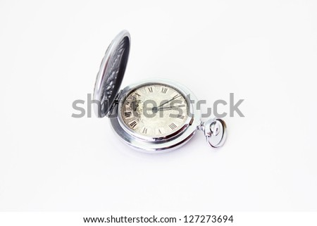 antique clock on a white background - stock photo