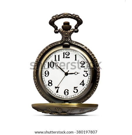 Antique clock on a white background