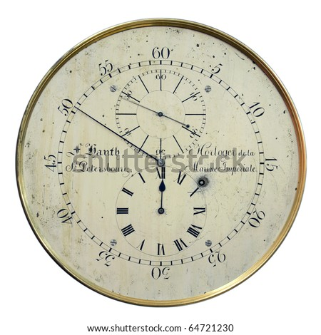 antique clock with a few dials, one of which is the inverse - stock photo