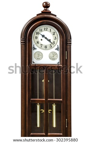 Antique clock with wood carved decoration, isolated on white background - stock photo
