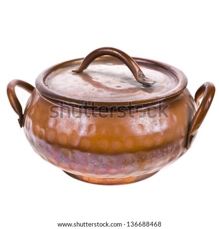antique closed brass pot close up isolated on white background - stock photo