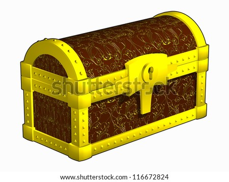 Antique closed chest, fettered by gold - stock photo